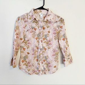 Anthro Odille Floral Prairie Button Down Shirt